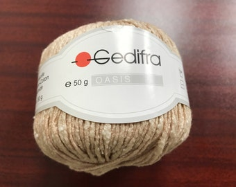 Gedifra Beige Slub Yarn Lot/2, Gedifra Oasis Cotton Yarn, Soft, Textured, Made in Italy, Light Brown, Beige, Cream, Tweed, Cotton Blend