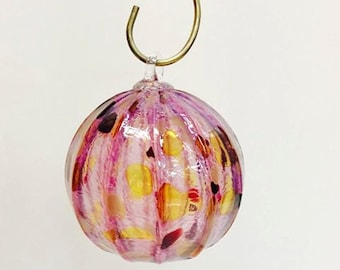 SALE ~ Hand Blown Pink Spotted Ornament
