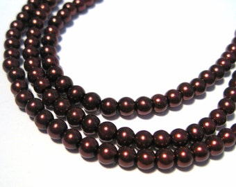 1 strand Dark Red Brown Glass Pearls 4mm