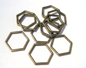 Antique Bronze Hollow Hexagons Links Connectors 17mm(No.930)