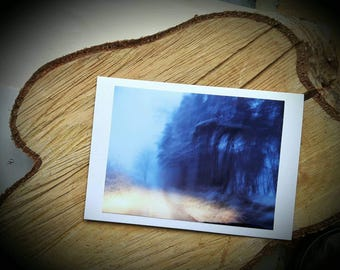 Winter Forest Art Photographic Cards - Twilight Snow Woodland Photograph Greeting Christmas Card - Made to order