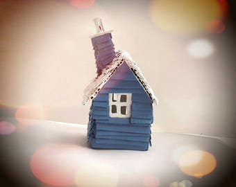 Swedish Microhouses - Scandinavian Inspired Handmade Recycled Cardboard House Models - Blue and White with Edged Window Detail-MADE TO ORDER