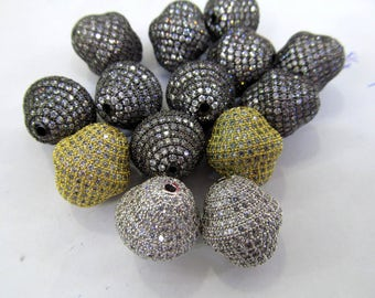 6pcs 12-18mm Micro Pave Diamond 24K GoldRhodium Football Olive spacer beads, Bicone Pave Bead  Pave CZ Cubic Zirconia Finding