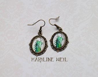 Green dragon Cabochon earrings