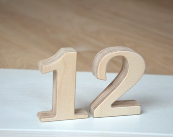 1-12 3'' Small Wooden Numbers, Free Standing Wedding Table Numbers for Decor, Stand Alone Cafe or Restaurant Table Numbers, Photo Props