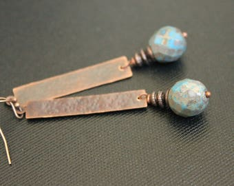 Cerulean and Copper - Bohemian Earrings - Hammered Copper Rectangles - Picasso Finish - Tribal Gypsy - Lightweight - Handmade - Rustic