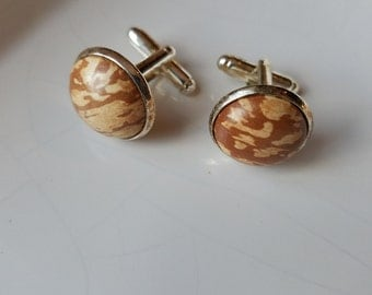 Spalted Apple Wood Cuff Links - Free First Class Shipping