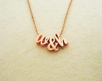 514.Pink color,Rose gold,Pink gold Plated,Cursive lowercase Initial Necklace,Letter Charm Necklace,Personalized Jewelry Gift,Custom necklace