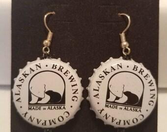 Alaska brewing company bottlecap earrings