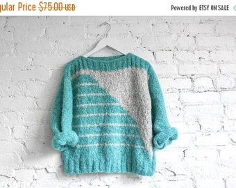Vintage 80s Abstract Knit Sweater // Knit Pullover // Grey Aqua Angle Knit // Boxy Fit Sweater // Cozy Ribbed Chunky Boxy Knit Sweater S M