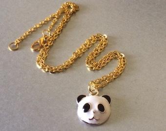Panda Necklace - Cute Enamel Panda Bear Head Necklace Animal Jewelry