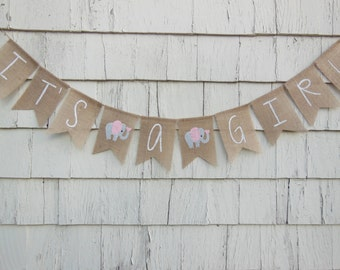 Elephant Baby Shower Decor, Its A Girl Banner, Its A Girl Bunting, Elephant Banner, Burlap Banner, Girl Elephant Baby Shower, Pink and Gray