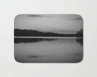Black and White Bathroom Mat, Nature Photography Art, Lakehouse Decor, Minnesota Gifts, Bath Mat, Boundary Waters, Memory Foam, Lake House