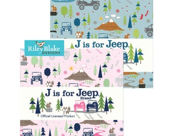 J is For Jeep Boy or Girl Fat Quarter Bundle; Riley Blake Designs; Jeep Fabric; 15 pcs; Pre Cut Fabric; FQ-6460B-15, FQ-6460G-15