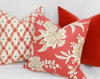 Coral & tan floral decorative throw pillow cover 18 x 18. 20 x 20. 22 x 22. 24 x 24. 26 x 26. lumbar sizes.