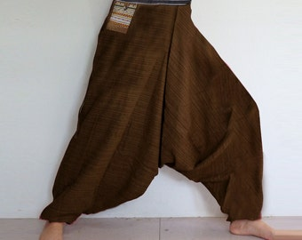 Rough cotton harem pants in a natural. Brown