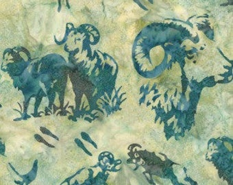Hoffman Fabrics Celery Green Big Horn Sheep Bali Batik Fabric N2914-106-Celery