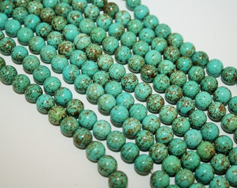 Blue Turquoise Color Round Howlite Bead - 8mm - 50ct - D164