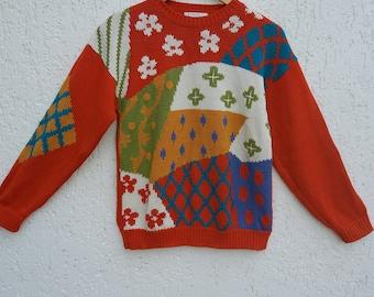 Vintage Orange Knitted Sweaters Size Medium to Large