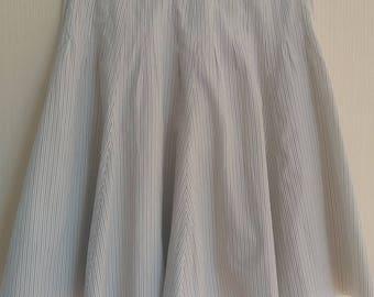 Vintage White Striped Midi Cotton Skirt Size Large