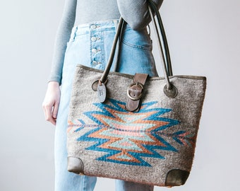 Tote bag/Boho chic bag/Statement bag/Handwoven/ Wool/ Brown leather/Tribal/Native design/Southwest/Spring colors/Gift for her/Women/Oaxaca