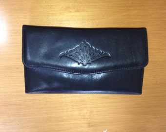 Vintage Black Buxton french wallet with coin purse