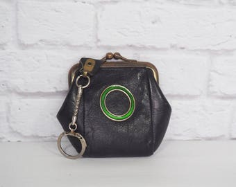 ROLFS Leather Coin Purse Navy Blue with Green Enamel Ring, Vintage Change Purse