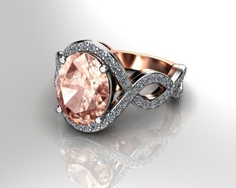Peach Morganite Engagement Ring 10x8 Oval Center Natural .36ct Of Diamonds 18k Gold Halo Diamond Anniversary Ring Pristine Custom Rings