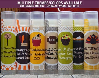 Thanksgiving Party - Thanksgiving Party Favors - Thanksgiving Party Ideas - Thanksgiving Party Supplies - Lip Balm Favors - Set of 10