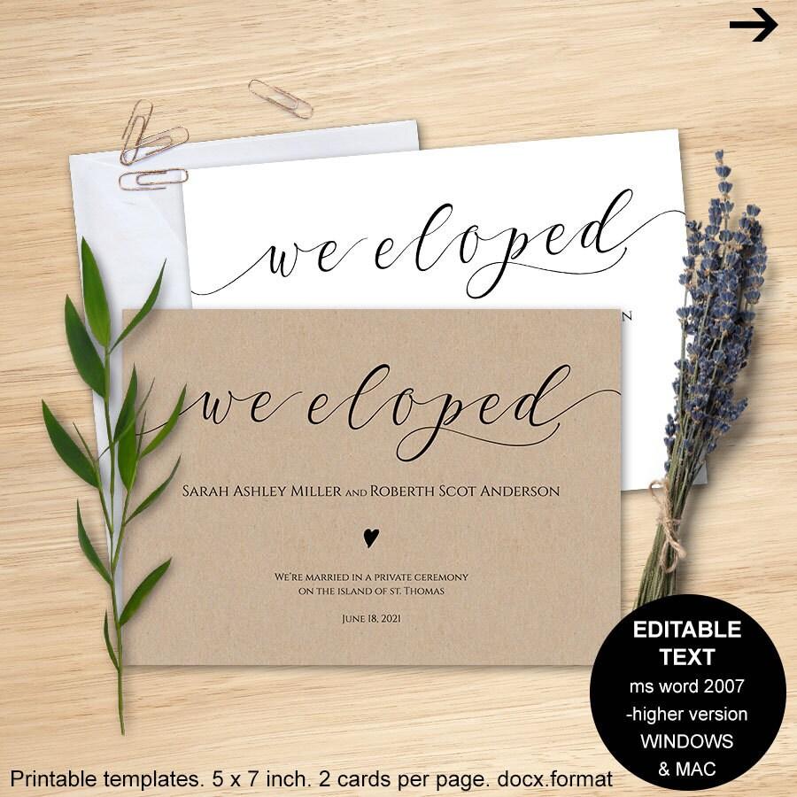 Elopement Announcement Card Wedding Announcements: Elopement Announcement We Eloped Announcement Elopement