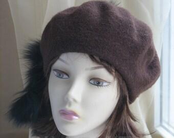 Felt  Beret Hat Felt  Hat Womens Hat Trendy Womens Felt Hat Classic Brown Hat Brown Beret Hat Edwardian French Beret Unique Gift