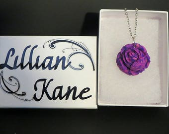 Light purple rose necklace