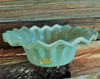 Haeger Floral, USA 132, Fluted Rim Bowl, Planter, Celadon Green, Pleated Edge, Home Decor