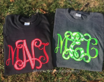 Fancy Jumbo Applique' Center Monogram on t-shirt (Short Sleeve)