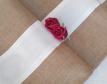Burlap Runner - Rustic Burlap Runner - Burlap and Cotton Runner - Rustic Runner - Runner - Table Runner - Wedding Runner - Choose color