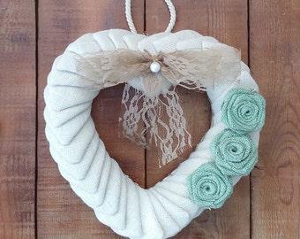 Bridal Burlap Wreath - Wedding Heart Wreath - Ivory Burlap Heart Wreath - Burlap Door Hanger - Wedding Wreath - Wedding Decor - Rustic Decor