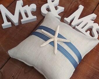 Cream Ring Pillow - Ivory Burlap Ring Pillow - Starfish Ring Bearer Pillow - Wedding Pillow - Beach Wedding Ring Pillow - Wedding Decor