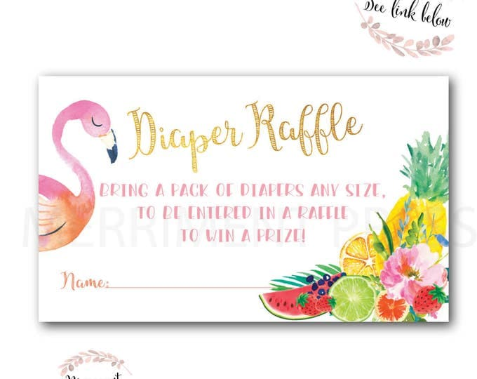 Tutti Frutti Diaper Raffle Ticket // Flamngo // Floral // fruit // pink // Baby Shower // Instant Download // ARUBA COLLECTION