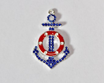 Red, White and Blue Anchor Rhinestone Pendant for Chunky Necklaces