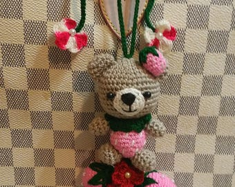 Fruit Bear Charms for Louis Vuitton  LV & other Handbags Purse - Crochet Handmade