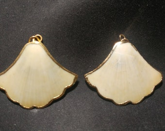Vintage gold edged Scallop Shells pendants. 1060452
