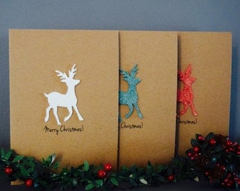 MULTIPACK Christmas Cards, Reindeer Christmas Card Pack, Christmas Card Set, Holiday Card Set, Christmas Cards Family, Reindeer Card