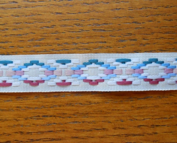 Vintage Retro Sewing Ribbon Pink, Blue, Cream on Beige DIY Projects