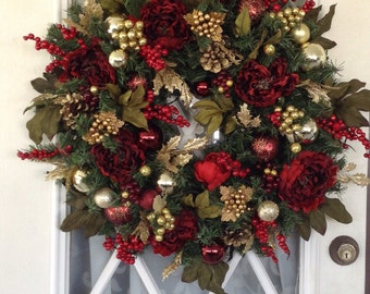 Christmas Wreath with light, Peony Artificial Wreath, 24 inch and up, 35 LED cordless light