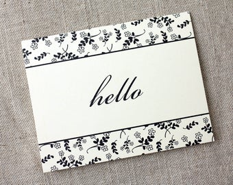 Hello Greeting - Card Card for Friend - Floral Pattern Card - Illustrated Floral Card - Just Because Card - Greeting Card