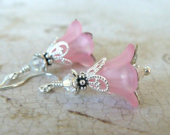 Pink Flower Earrings, Pale Pink Lucite Flower Dangles, Vintage Style Jewelry, Gift for Her, Pink and Silver Floral Earrings