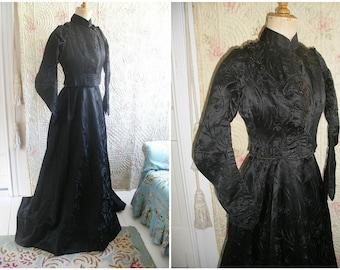 Victorian black silk dress, corset bodice & skirt, beaded trim