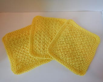 Dish/Wash Cloths - Set of 3 - Yellow Sunshine - 100% Cotton - Hand Crocheted - Squares - Kitchen Gear - Bathroom - Camping - Dishcloth