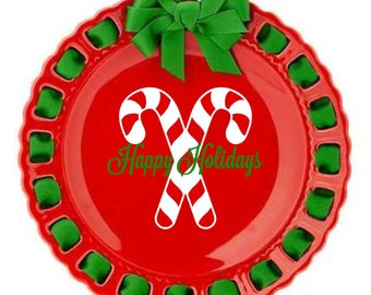 Personalized Holiday Plate ~ Prissy Plate ~ Candy Cane ~ Christmas Plate ~ Merry Christmas Red and Green Ribbon Plate Christmas