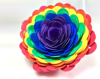 15 Full Rainbow Paper Carnations-Party Decor-Wedding-Table Decor-Room Decor-Gift Toppers